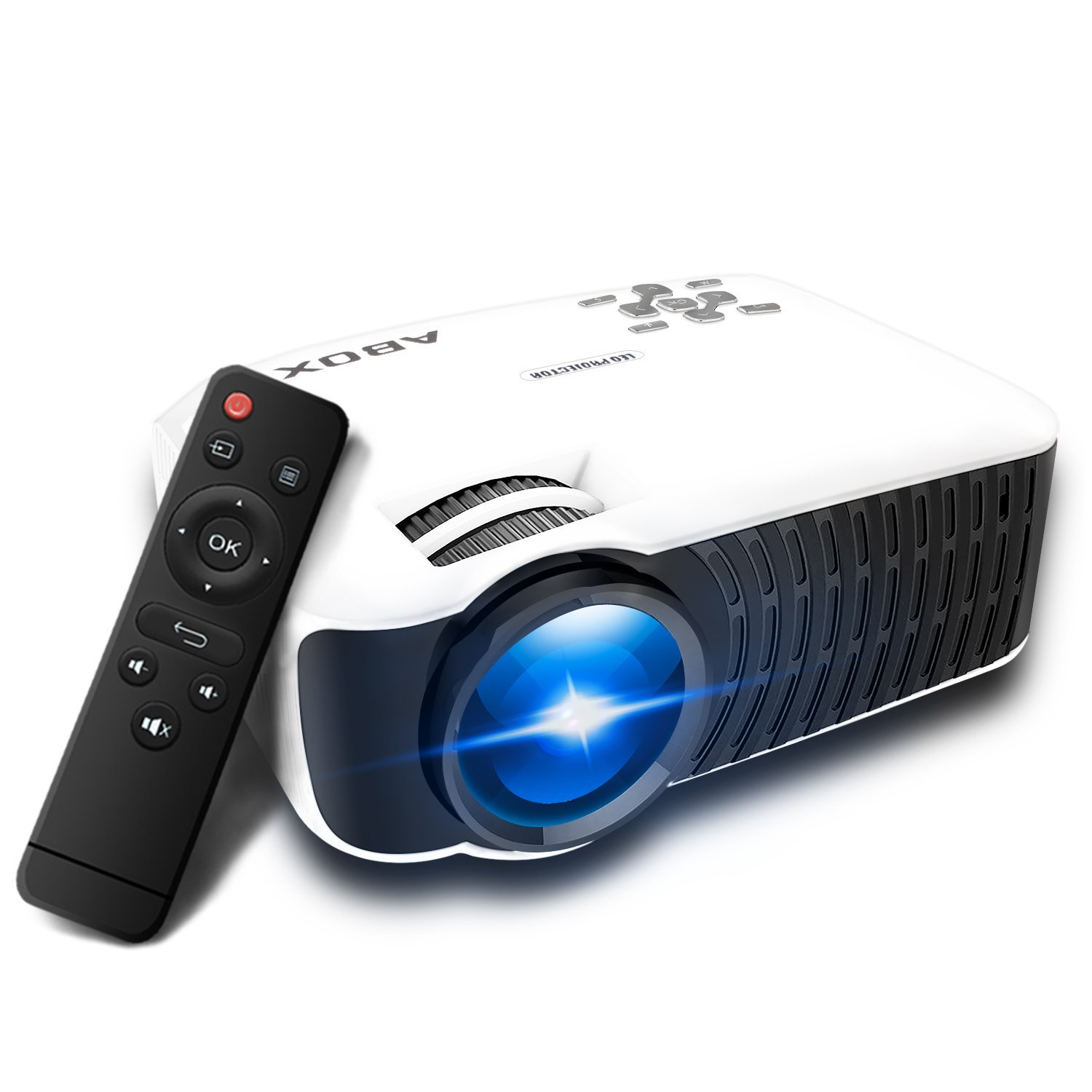 Projector 2400 Lumens, Globmall ABOX T22 Support 1080p HD Multimedia Portable Mini Home Theater LED Video Projector Support HDMI USB SD Card VGA AV Input for PC Laptop/PS4/Xbox