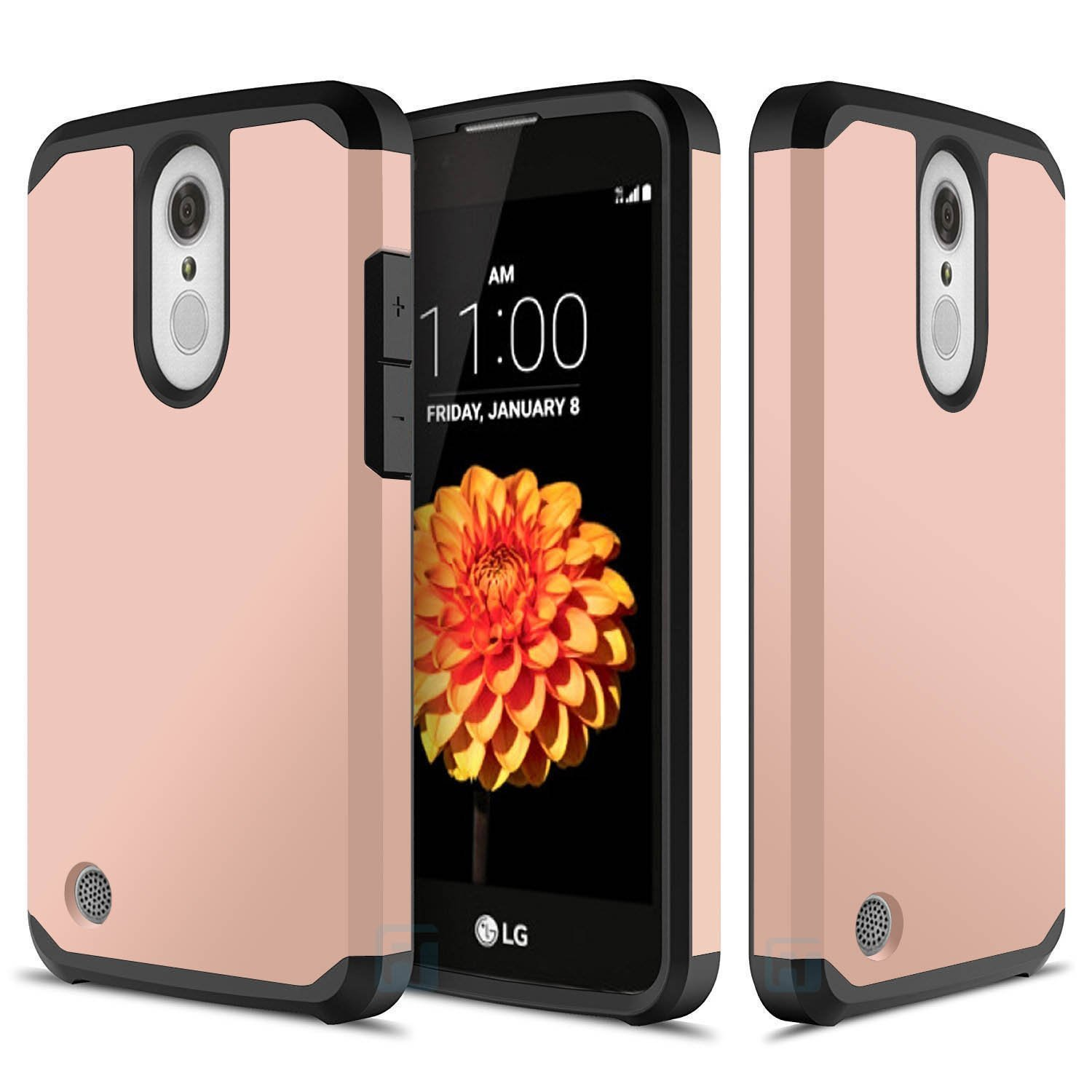 LG K20 Plus, LG K20 V, LG Harmony, LG Grace, LG K10 2017, ATUS - Hybrid Dual Layer Hard Cover TPU Case With HD Screen Protector (RoseGold/Black)
