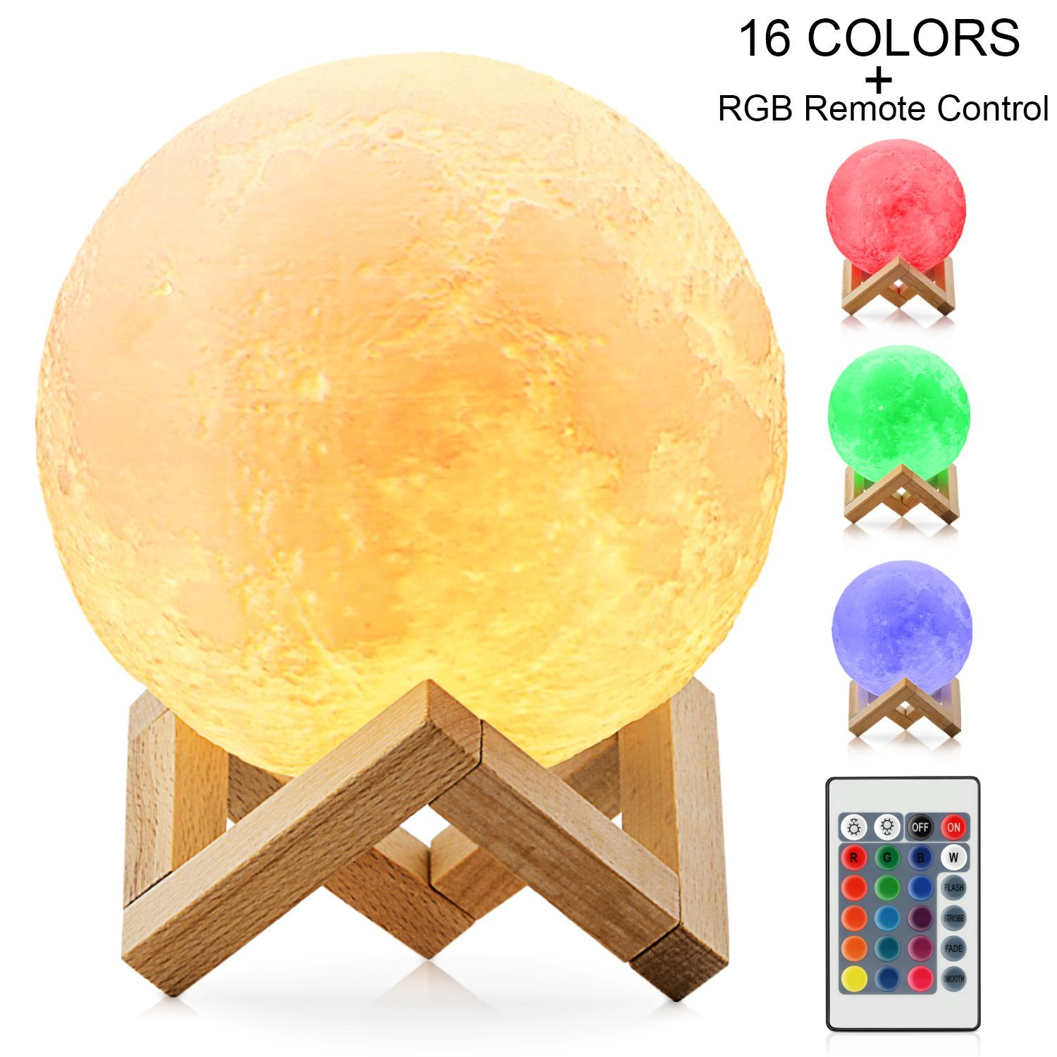 Moon Lamp Magicfly 16 Colors Rgb Light With Remote Touch Control 3d