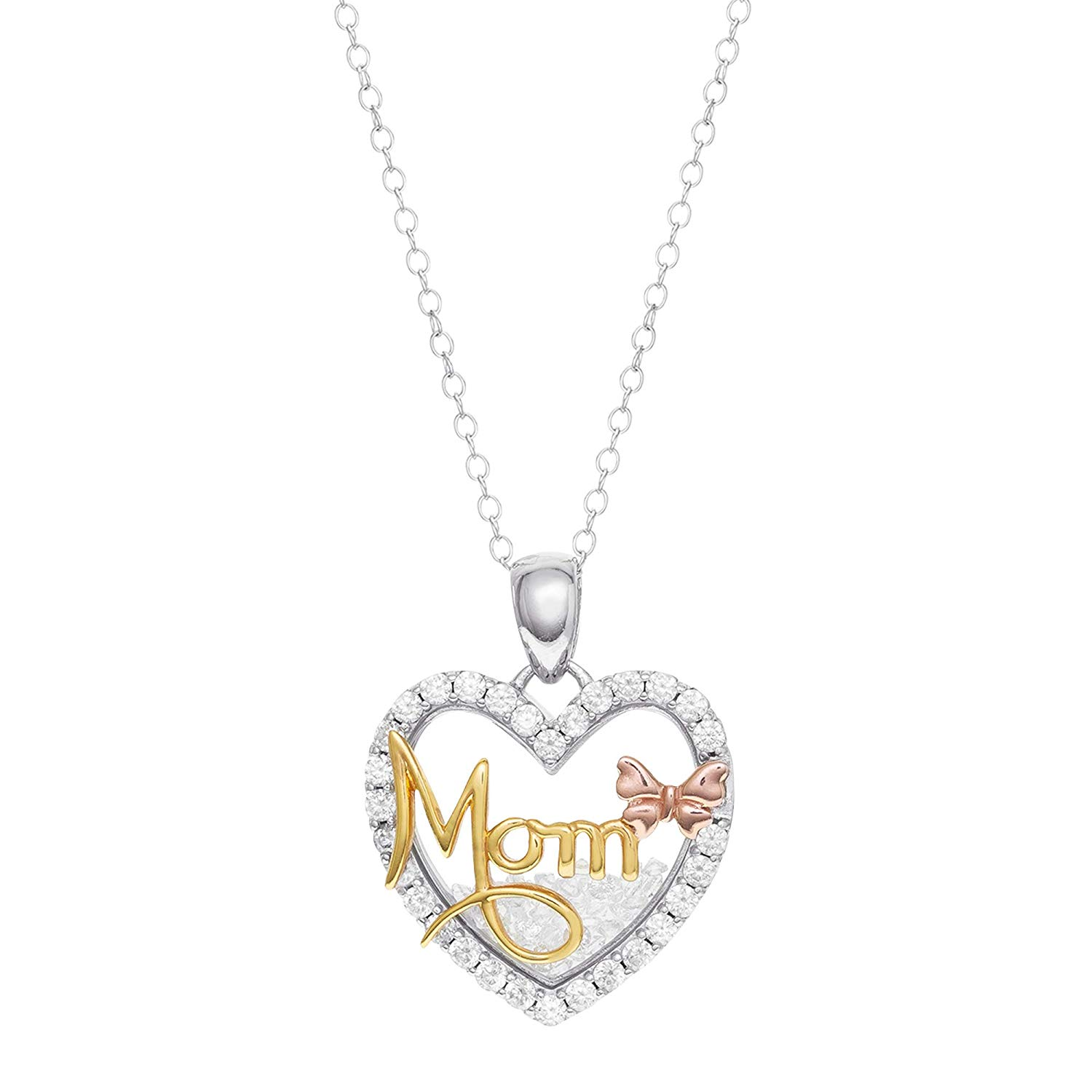 1590e6bf7d042a Hallmark Jewelry for Women, Sterling Silver Cubic Zirconia Heart Shaped  'Mom' Shaker Pendant